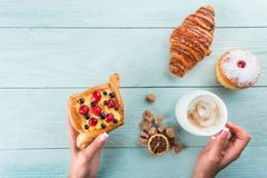 Coffee and breakfast cakes for breakfast, top view Royalty Free Stock Photography