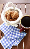 Coffee breakfast. With fresh bakery, croissants Royalty Free Stock Photography