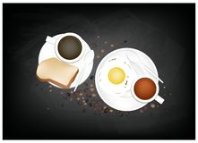 Coffee with Breakfast Fried Egg and Toast Royalty Free Stock Images