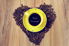 Coffee for breakfast. Symbol of the love of coffee for breakfast royalty free stock images