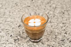 Coffee brewing. Close up of Coffee espresso. stock photo