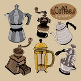 Coffee brewing elements in vintage set vector illustration