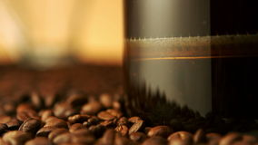 Coffee brewing in french press stock video footage