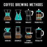 Coffee brewing methods icons set. Different ways Stock Images