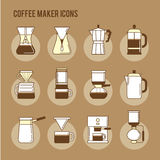 Coffee brewing methods icons set. Different ways of making hot energy drink. Royalty Free Stock Photos