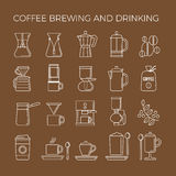 Coffee brewing methods icons set. Different ways of making hot energy drink. Royalty Free Stock Photography