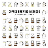 Coffee brewing methods pattern. Different ways of. Detailed stylish modern flat vector illustration and design element Royalty Free Stock Photography