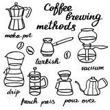 Coffee brewing methods set. Hand-drawn cartoon coffee makers. Doodle drawing. Stock Photos