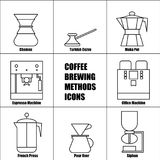Coffee Brewing Methods, Vector Thin Line Icon Set Royalty Free Stock Images
