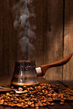 Coffee brewing pot vertical  still-life Royalty Free Stock Photos