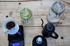 Coffee brewing, step by step royalty free stock photos