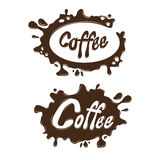 Coffee brown blotches on a white background to create brand Royalty Free Stock Image