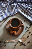 Coffee in brown cup Royalty Free Stock Photo