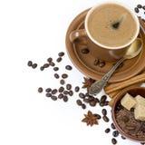 Coffee, brown sugar and cinnamon Royalty Free Stock Photography