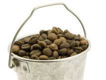 Coffee bucket of beans Stock Images