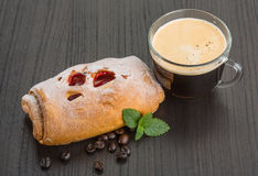 Coffee with bun Stock Photo