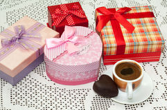 COFFEE BUNCH OF GIFT BOXES CHOCOLATE HEART Royalty Free Stock Photo
