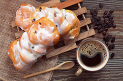 Coffee and buns Stock Photos
