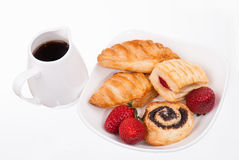 Coffee and buns on plate isolated Stock Photos