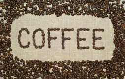 Coffee on a burlap Royalty Free Stock Photography