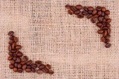 Coffee on the burlap Royalty Free Stock Photo