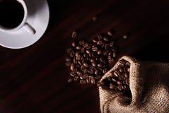 Coffee and burlap bag Stock Image