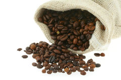Coffee in burlap sack #2 Royalty Free Stock Photo