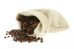 Coffee in burlap sack #3 Royalty Free Stock Image