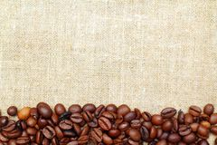 Coffee on burlap Royalty Free Stock Images