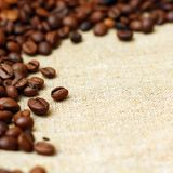 Coffee on burlap background Stock Image