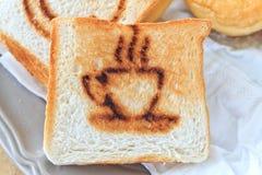 Coffee burn mark on toasted bread Stock Image