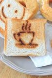 Coffee burn mark on toasted bread Stock Photo