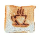 Coffee burn mark on toasted bread Royalty Free Stock Photo