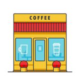 Coffee business, cafe building flat line illustration, concept vector isolated icon Royalty Free Stock Photography