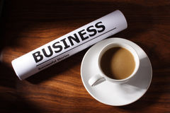 Coffee, Business File on Table Royalty Free Stock Photos