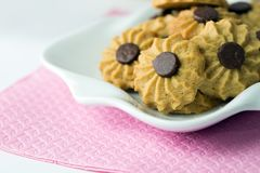 Coffee butter chocolate chip cookie Stock Image