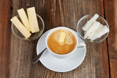 Coffee, butter and coconut oil for bulletproof coffee Royalty Free Stock Photography