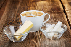 Coffee, butter and coconut oil for bulletproof coffee stock images