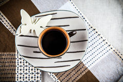 Coffee with butterfly Stock Image