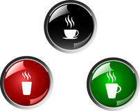 Coffee button Stock Photography