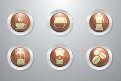 Coffee buttons. A set of coffee related buttons Royalty Free Stock Photo