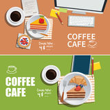 Coffee cafe banner flat design element Royalty Free Stock Images