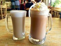Coffee - cafe Borgia and cafe latte Stock Photos