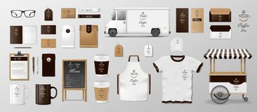 Mockup set for coffee shop, cafe or restaurant. Coffee food package for corporate identity design. Realistic set of. Coffee, Cafe, Food delivery truck stock illustration