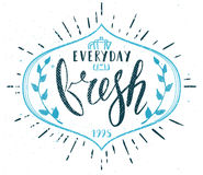 Coffee Cafe Fresh Everyday Fictitious name Template Hand Drawn C. Alligraphy Pen Brush Vector EPS royalty free illustration