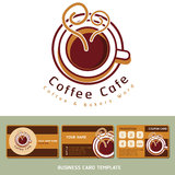 Coffee Cafe icon logo and business cards. Stock Photos