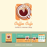 Coffee Cafe icon logo and business cards. Stock Photography