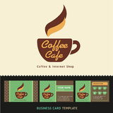 Coffee Cafe icon logo and business cards. Royalty Free Stock Photos