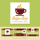 Coffee Cafe icon logo and business cards. Royalty Free Stock Photo
