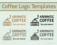 Coffee cafe icon logo template and business cards Royalty Free Stock Image